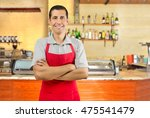 portrait of a happy waiter with ...   Shutterstock . vector #475541479