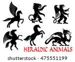 heraldic animals icons. pegasus ... | Shutterstock .eps vector #475551199