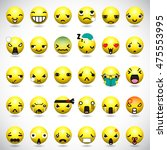 set of cute smiley emoticons ... | Shutterstock .eps vector #475553995