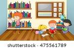 children reading books in... | Shutterstock .eps vector #475561789
