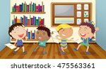boys reading books in classroom ... | Shutterstock .eps vector #475563361