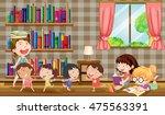 many girls reading books in...   Shutterstock .eps vector #475563391
