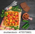 autumn dinner baked roasted... | Shutterstock . vector #475573801