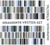 Silver, steel, chrome gradients vector set. Aluminum panel square illustration