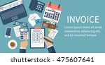 invoice concept. man at table ... | Shutterstock .eps vector #475607641