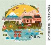 lovely japan travel poster ... | Shutterstock .eps vector #475609681