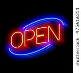 Open Neon Sign With Reflection...