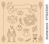 wedding gay vector set with... | Shutterstock .eps vector #475623265