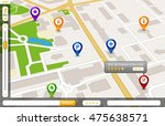 perspective city map gps... | Shutterstock .eps vector #475638571