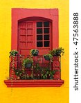 red painted window with plants... | Shutterstock . vector #47563888