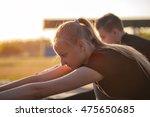 portrait of cute fitness girl... | Shutterstock . vector #475650685