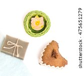 Small photo of hygiene soap bar with wisp . Spa background. Bath herbal toiletries for beauty, wellness, health. Scented natural cosmetics for body care, clean, wash. Aromatic, aroma freshness