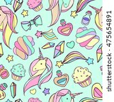 seamless pattern with unicorns. | Shutterstock . vector #475654891