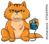 Stock vector grumpy cat holding computer mouse cartoon 475659994