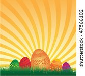 easter eggs background with... | Shutterstock .eps vector #47566102