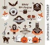 happy halloween design elements.... | Shutterstock .eps vector #475666069