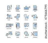 set of thin flat line icons.... | Shutterstock .eps vector #475666795