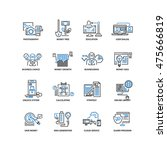 set of thin flat line icons.... | Shutterstock .eps vector #475666819