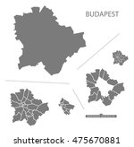 budapest hungary map in grey | Shutterstock .eps vector #475670881