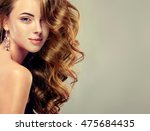 beautiful girl with long wavy... | Shutterstock . vector #475684435