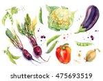 watercolor vegetables set with... | Shutterstock . vector #475693519