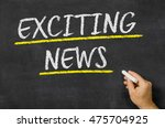 Small photo of Exciting news written on a blackboard