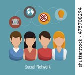 social network media d icon... | Shutterstock .eps vector #475708294