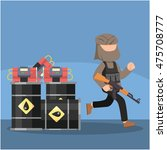 terrorist ran alongside oil | Shutterstock .eps vector #475708777