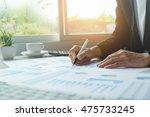 asian business woman analyzing... | Shutterstock . vector #475733245