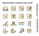 waterproofing and water leaked... | Shutterstock .eps vector #475733365