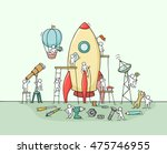 sketch of working little people ... | Shutterstock .eps vector #475746955