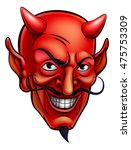 cartoon red devil satan or...