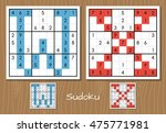 sudoku vector set with answers. ... | Shutterstock .eps vector #475771981