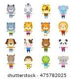 set of cartoon cute animal... | Shutterstock . vector #475782025