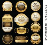 golden sale badges and labels... | Shutterstock .eps vector #475783711