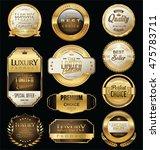 golden sale badges and labels... | Shutterstock .eps vector #475783711