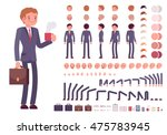 Businessman character creation set. Full length, different views, emotions, gestures, isolated against white background. Build your own design. Cartoon flat-style infographic illustration | Shutterstock vector #475783945