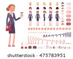 Businesswoman character creation set. Full length, different views, emotions, gestures, isolated against white background. Build your own design. Cartoon flat-style infographic illustration | Shutterstock vector #475783951
