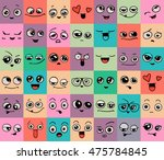 emotions. set of doodle faces.... | Shutterstock .eps vector #475784845