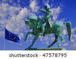 Statue of Napolean in Saint Malo, France with European Union Flag