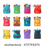 colored school backpacks set.... | Shutterstock .eps vector #475793374