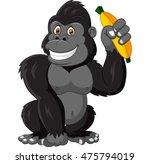 cartoon funny gorilla holding... | Shutterstock . vector #475794019