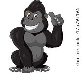cartoon funny gorilla giving... | Shutterstock . vector #475795165