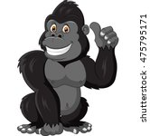 cartoon funny gorilla giving... | Shutterstock .eps vector #475795171