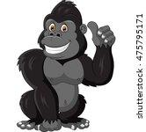 Cartoon Funny Gorilla Giving...
