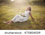young girl in white dress with... | Shutterstock . vector #475804039