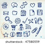 set of doodle computer icons...