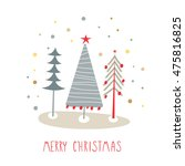 greeting card  merry christmas. ... | Shutterstock .eps vector #475816825