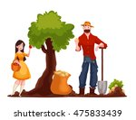man harvesting potato and woman ... | Shutterstock .eps vector #475833439