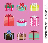 gift box set oval and heart... | Shutterstock .eps vector #475835611